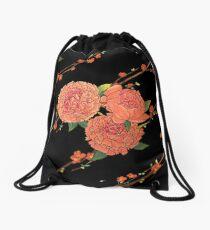 peony and plum flower black Drawstring Bag