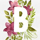 Letter B in watercolor flowers and leaves. Floral monogram. by helga-wigandt