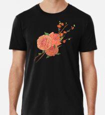 peony and plum flower black Premium T-Shirt