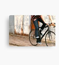 Fixie cycling in Melbourne Canvas Print