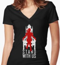 Stand with us Women's Fitted V-Neck T-Shirt