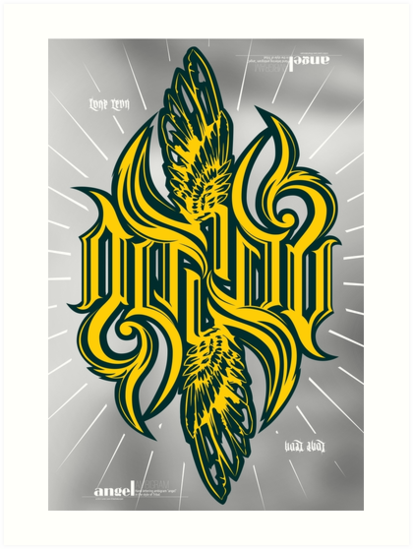 Angel 3K ambigram by Letters shop Leo