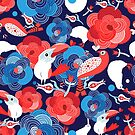 Bright floral pattern with birds in love by Tanor