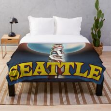 Seattle Totem Pole vintage style travel poster Throw Blanket