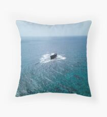 A shipwreck in the middle of the sea Throw Pillow