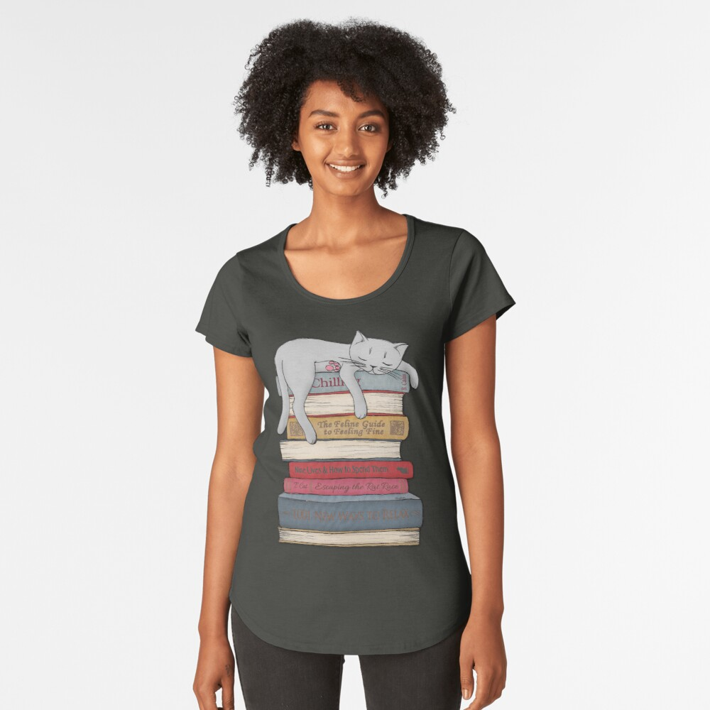 How to Chill Like a Cat Premium Scoop T-Shirt
