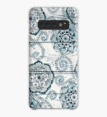 Shabby Chic Navy Blue doodles on Wood Case/Skin for Samsung Galaxy