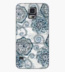 Shabby Chic Marineblau kritzelt auf Holz Hülle & Klebefolie für Samsung Galaxy