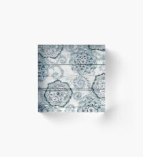 Shabby Chic Navy Blue doodles on Wood Acrylic Block