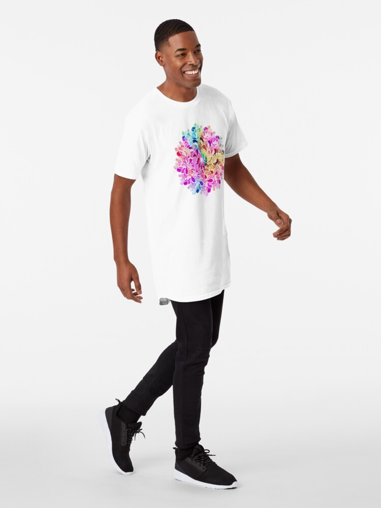Alternate view of Rainbow Watercolor Paisley Flower Long T-Shirt