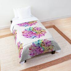 Rainbow Watercolor Paisley Flower Comforter