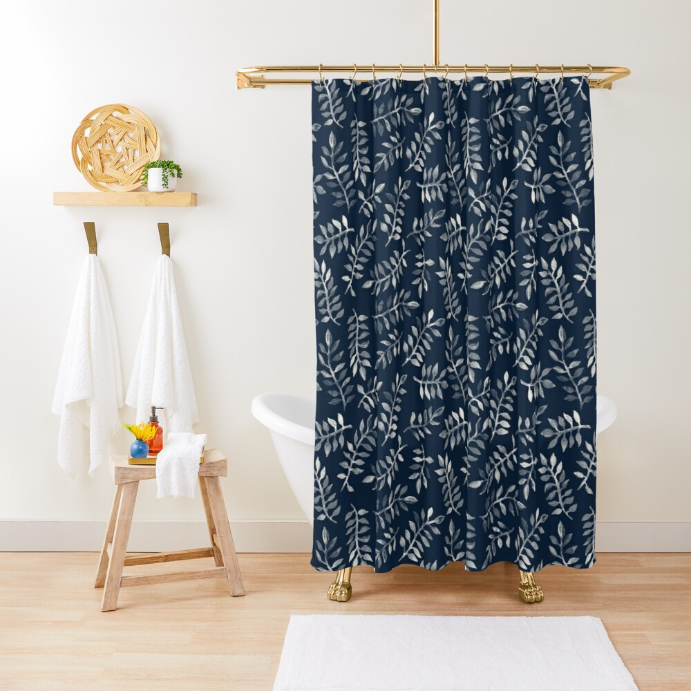 White Leaves on Navy - a hand painted pattern Shower Curtain