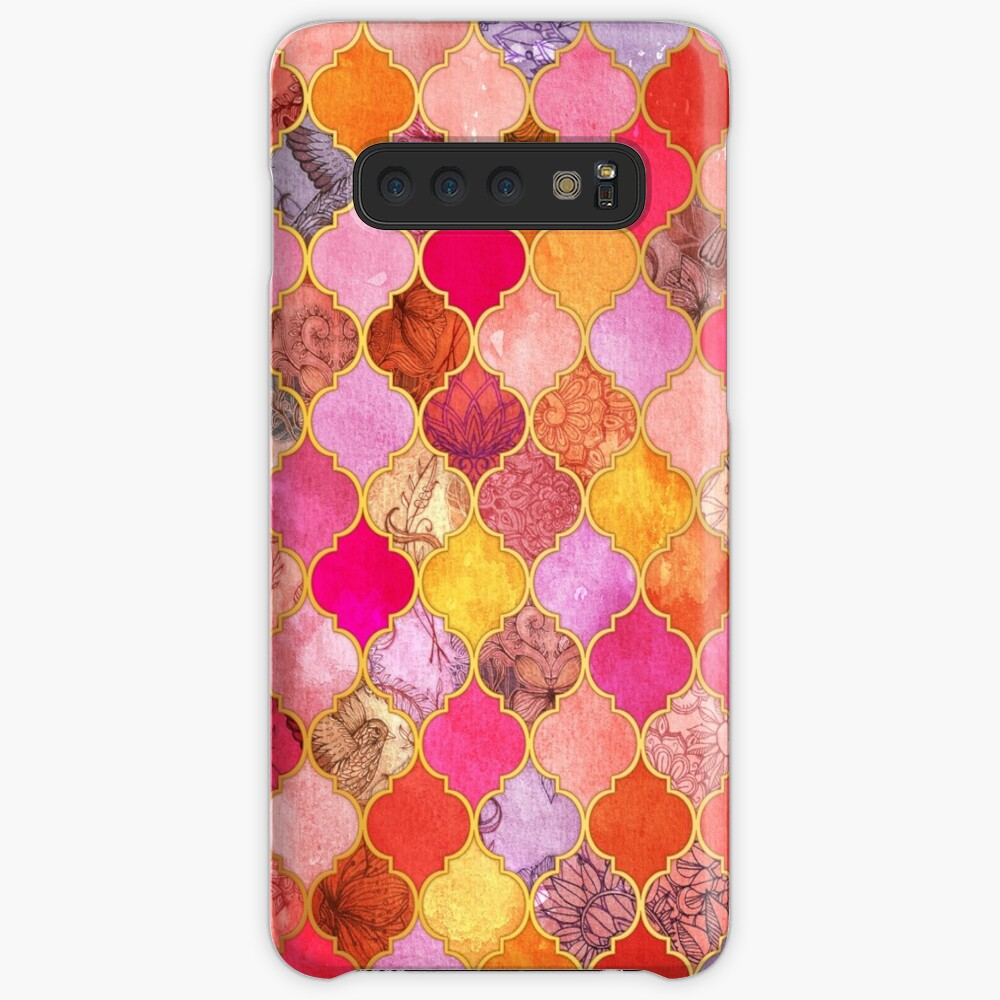 Hot Pink, Gold, Tangerine & Taupe Decorative Moroccan Tile Pattern Case & Skin for Samsung Galaxy