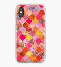 Pink, Gold, Mandarine & Taupe Dekorative marokkanische Fliesenmuster iPhone-Hülle & Cover