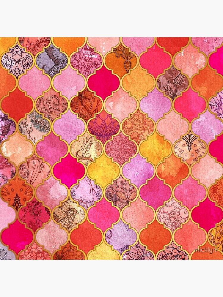Pink, Gold, Mandarine & Taupe Dekorative marokkanische Fliesenmuster von micklyn