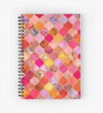Hot Pink, Gold, Tangerine & Taupe Decorative Moroccan Tile Pattern Spiral Notebook