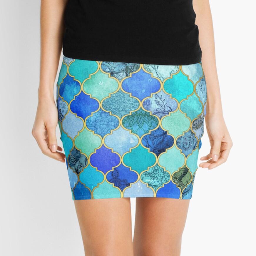 Cobalt Blue, Aqua & Gold Decorative Moroccan Tile Pattern Mini Skirt