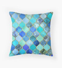 Kobaltblau, Aqua & Gold Dekorative marokkanische Fliesenmuster Dekokissen