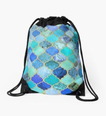 Mochila saco Cobalto azul, aguamarina y oro decorativo marroquí azulejo patrón