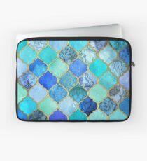 Kobaltblau, Aqua & Gold Dekorative marokkanische Fliesenmuster Laptoptasche