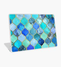 Cobalt Blue, Aqua & Gold Decorative Moroccan Tile Pattern Laptop Skin