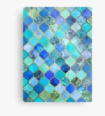 Cobalt Blue, Aqua & Gold Decorative Moroccan Tile Pattern Metal Print