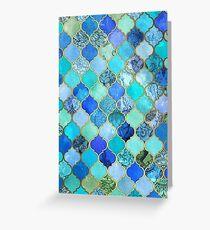 Tarjeta de felicitación Cobalto azul, aguamarina y oro decorativo marroquí azulejo patrón