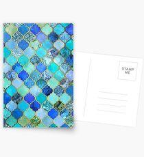 Postales Cobalto azul, aguamarina y oro decorativo marroquí azulejo patrón