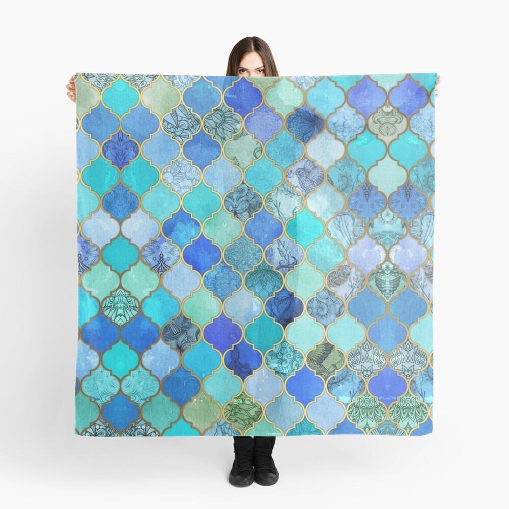 Cobalt Blue, Aqua & Gold Decorative Moroccan Tile Pattern Scarf