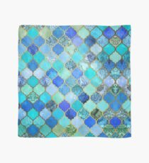 Cobalt Blue, Aqua & Gold Decorative Moroccan Tile Pattern Scarf
