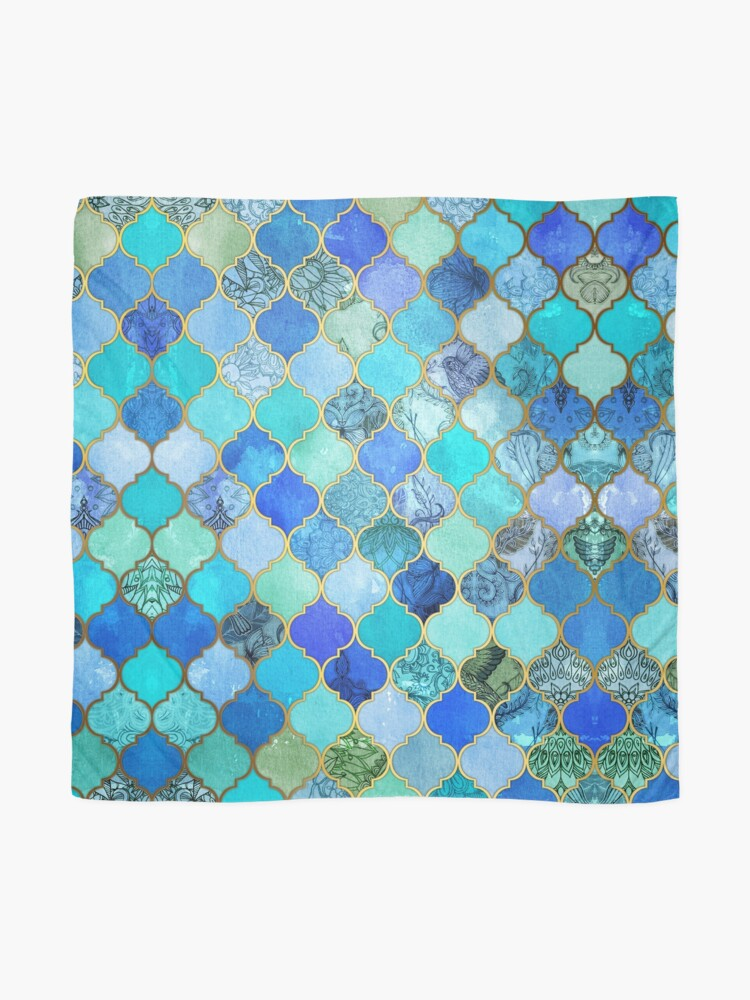 Alternate view of Cobalt Blue, Aqua & Gold Decorative Moroccan Tile Pattern Scarf