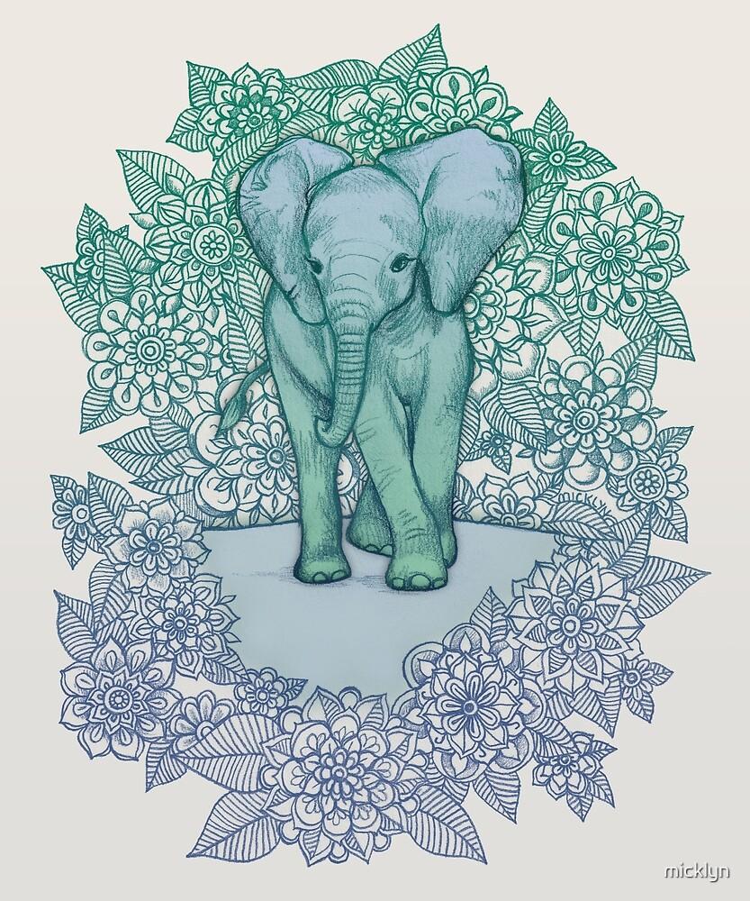 «Elefante esmeralda en la noche lila» de micklyn
