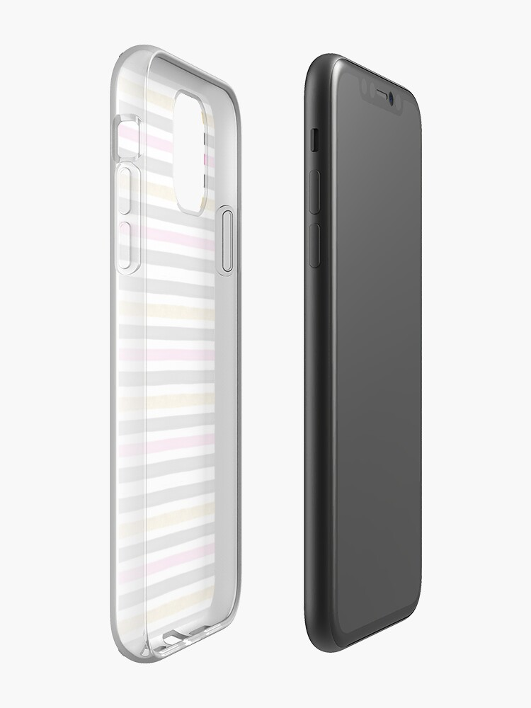 Coque iPhone « AQUATIQUE STRIPES ROSE NOIR ET OR MOTIF DE TEXTURE - AQUARELLE », par Giada