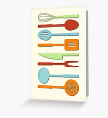 Kitchen Utensil Colored Silhouettes on Cream II Greeting Card
