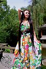 Ange Maya Wore Floral Tropical Skirt Dancing in an Ancient Garden of China by ANGE MAYA