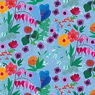 Garden flowers pattern on blue by BinkyMcKee
