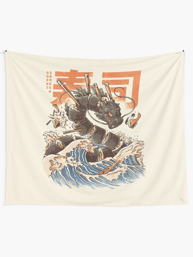 Alternate view of Great Sushi Dragon  Tapestry