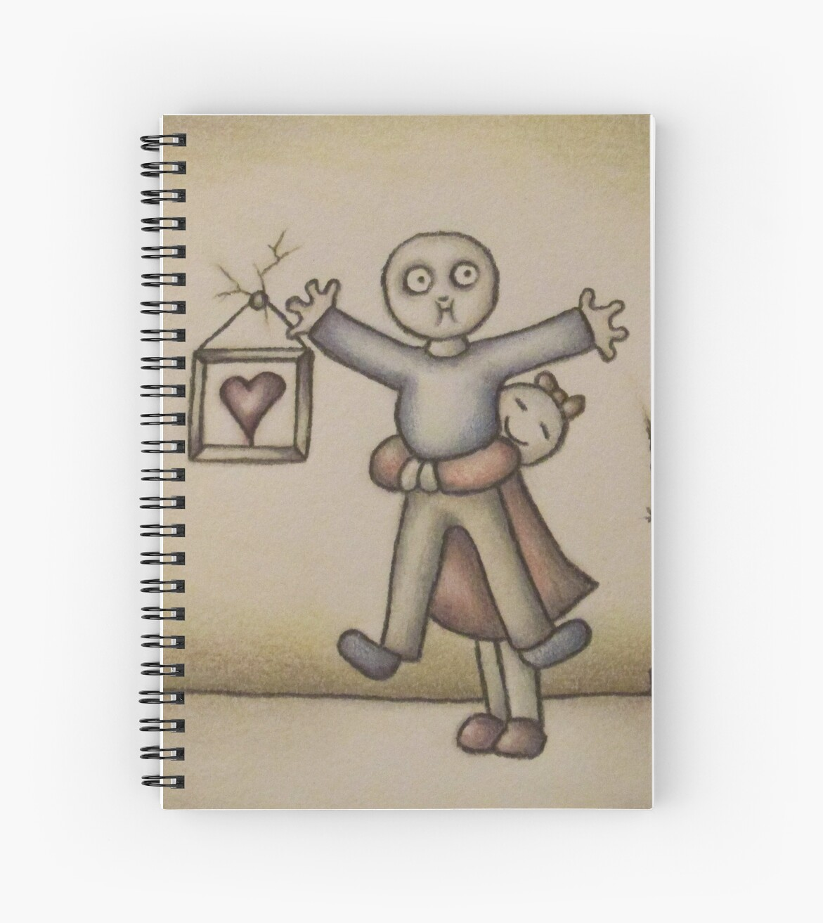 cute cartoon drawing of girl hugging boy spiral notebooks by
