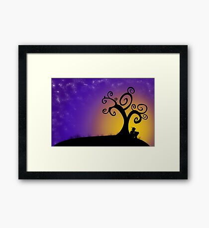 The boy, the tree and the stars Framed Print