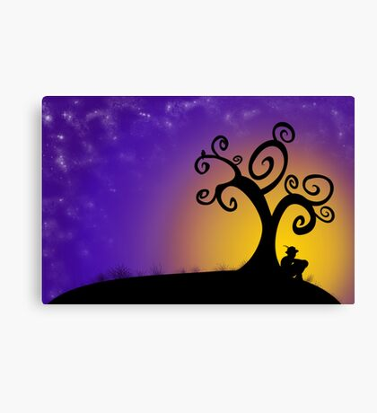The boy, the tree and the stars Canvas Print