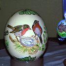 3 Robin motives fit on an Austrich-egg by Heidi Mooney-Hill