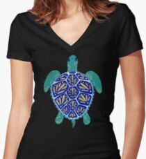 Sea Turtle – Navy & Gold Women's Fitted V-Neck T-Shirt