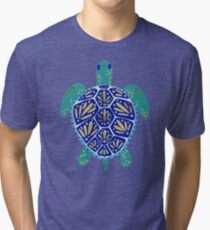 Sea Turtle – Navy & Gold Tri-blend T-Shirt