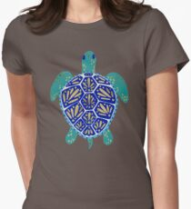 Sea Turtle – Navy & Gold Womens Fitted T-Shirt