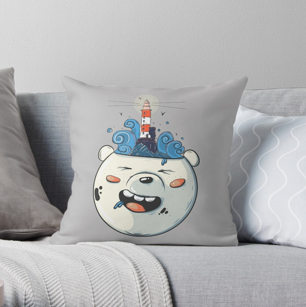 Ice Bear Get Idea. We Bare Bears fan art. Throw Pillow