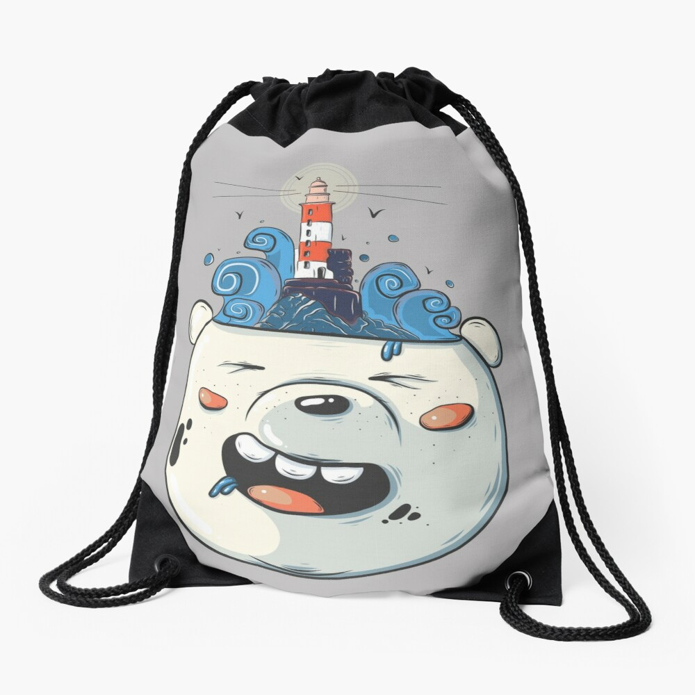 Ice Bear Get Idea. We Bare Bears fan art. Drawstring Bag