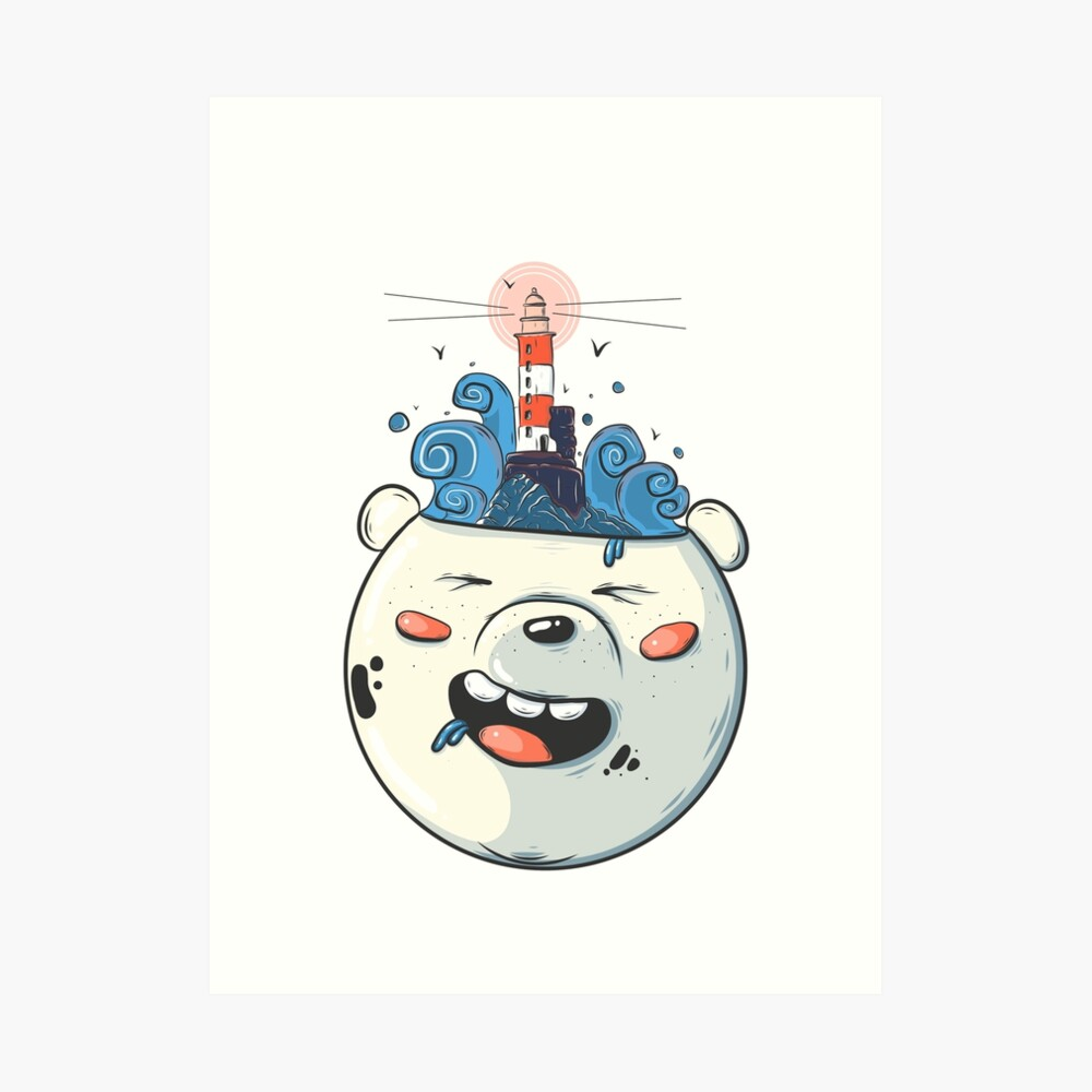 Ice Bear Get Idea. We Bare Bears fan art. Art Print