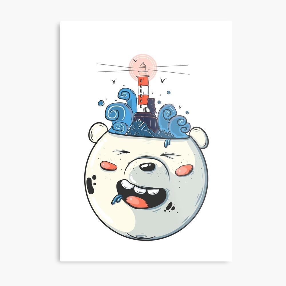 Ice Bear Get Idea. We Bare Bears fan art. Metal Print