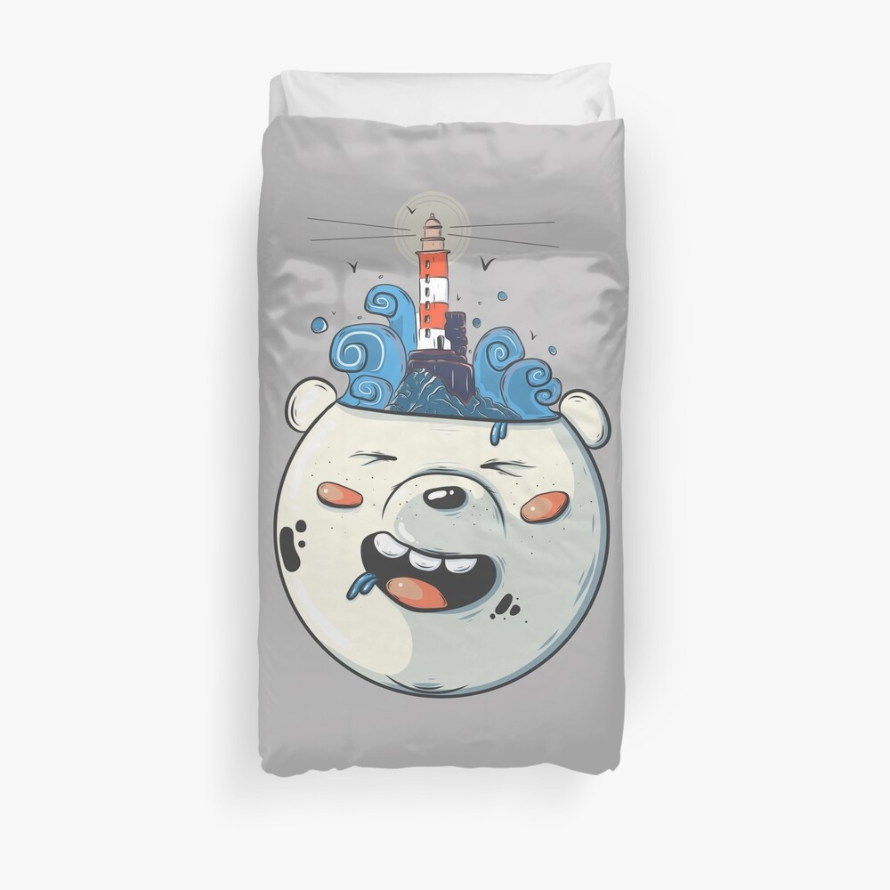 Ice Bear Get Idea. We Bare Bears fan art. Duvet Cover