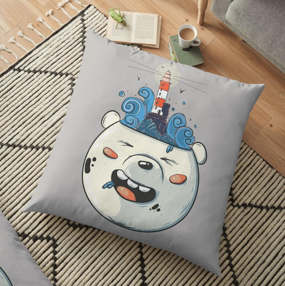 Ice Bear Get Idea. We Bare Bears fan art. Floor Pillow